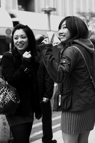 Japanese girls in street