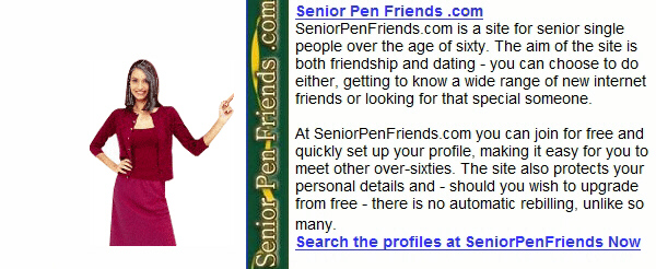 Senior Pen Friends .com website image